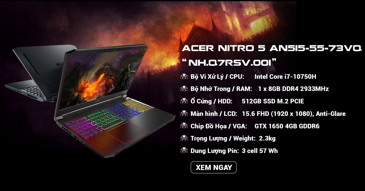 Laptop gaming Acer Nitro 5 AN515-55-73VQ Core i7