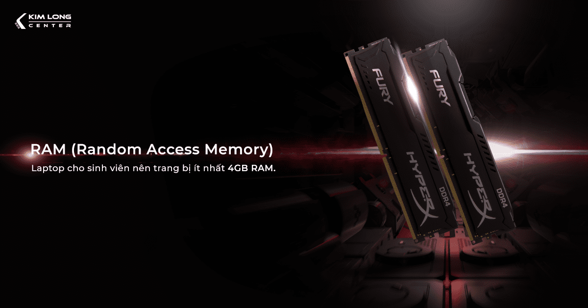 RAM là bộ nhớ đệm có chức năng lưu trữ tạm thời của laptop
