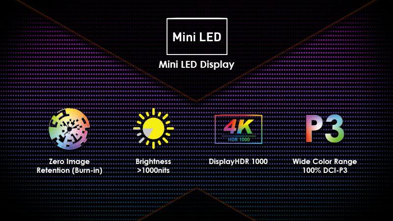 màn hình Mini led của msi creator 17