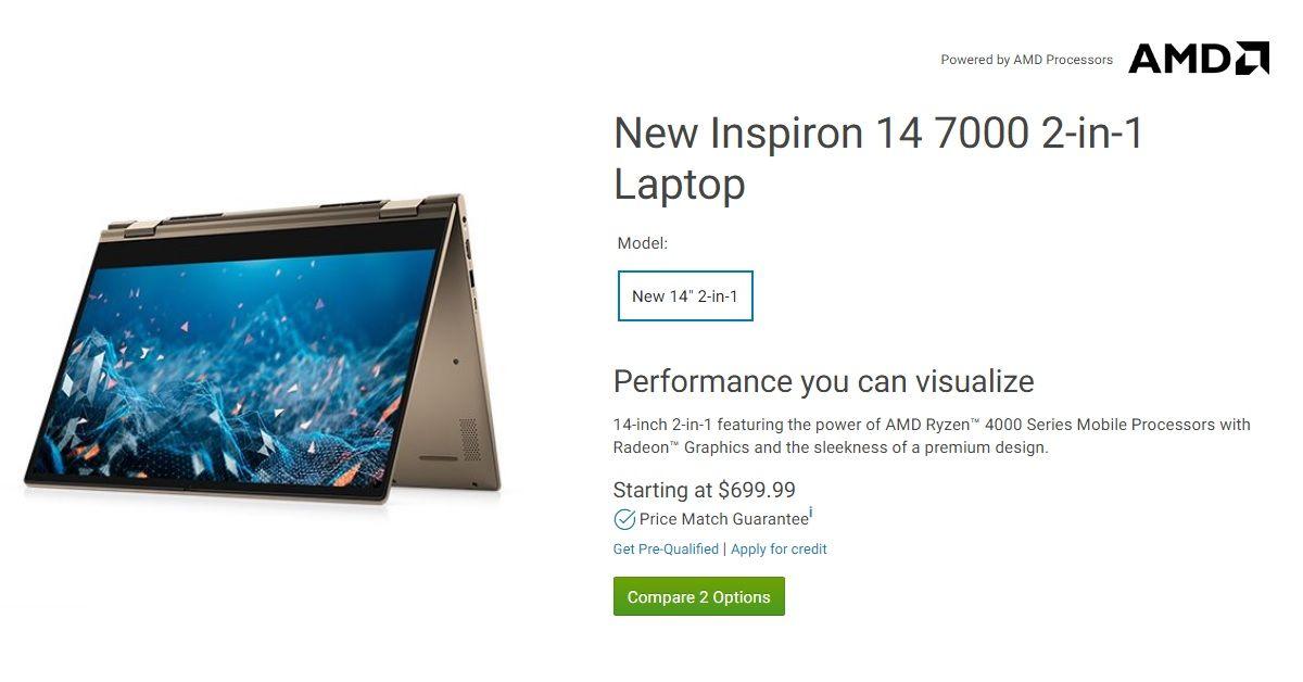 Dell Inspiron 14 7000 2-in-1 Laptop đầu tiên của Dell trang bịCPU AMD Ryzen Renior 4000