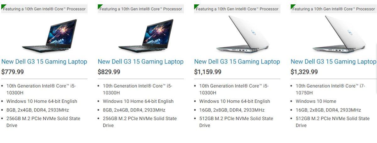 Giá và cấu hình Dell G3 3500 trên website của Dell