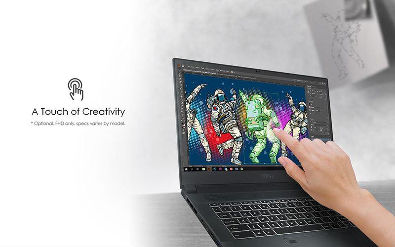 MSi creator 15 với màn hình cảm ứng đa điểm