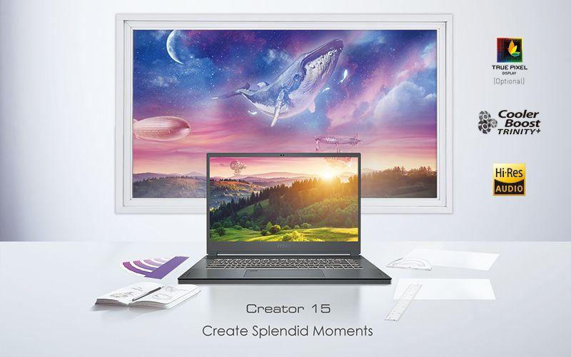 MSI công bố MSI Creator 15 - Màn hình cảm ứng, lên đến Core i7-10875H, RTX 1080 Super và pin 99.9Whr