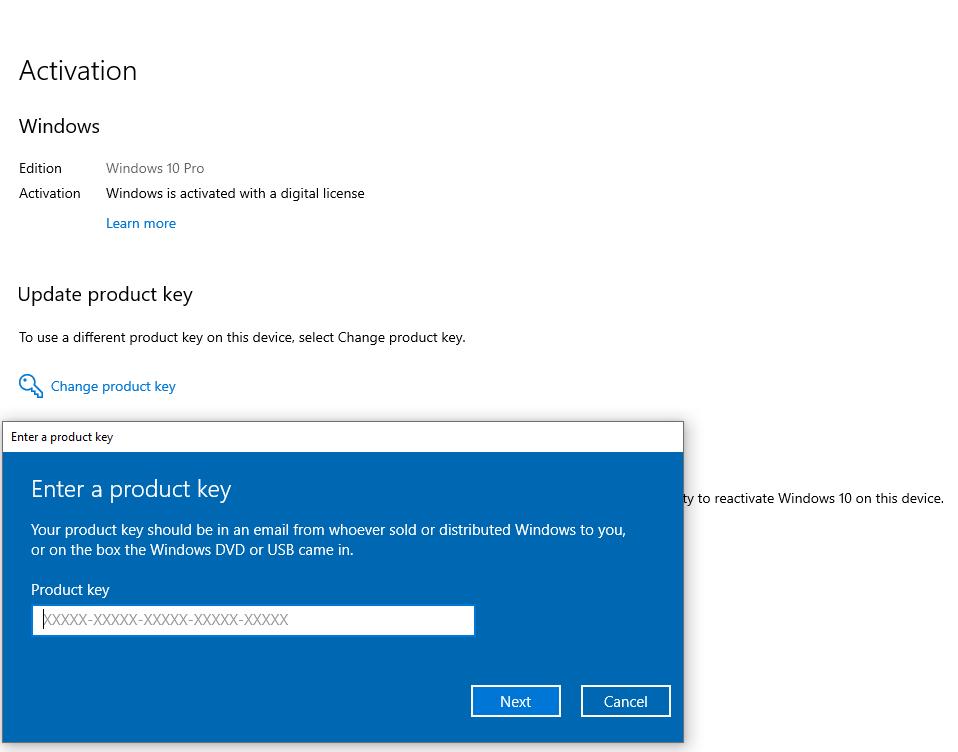 nhập Product Key để nâng cấp windows 10 home lên windows 10 pro