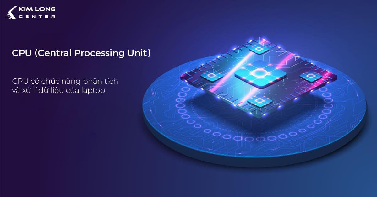 CPU có chức năng phân tích và xử lí dữ liệu của laptop