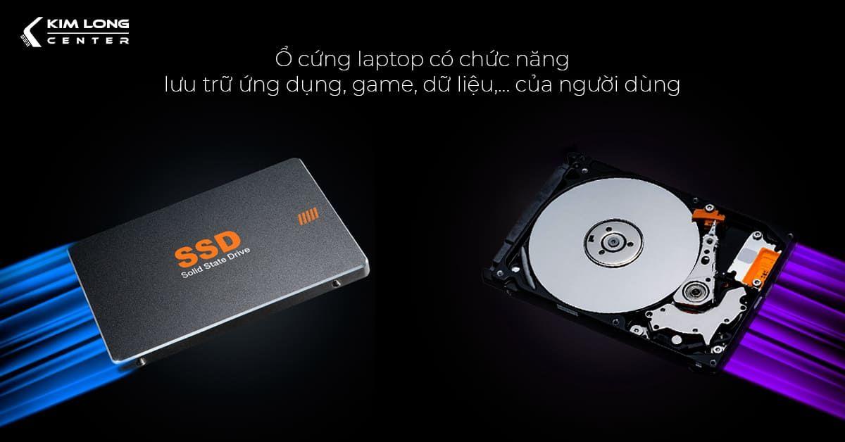 Ổ cứng laptop có chức năng luu trữ ứng dụng, game, dữ liệu,... của người dùng