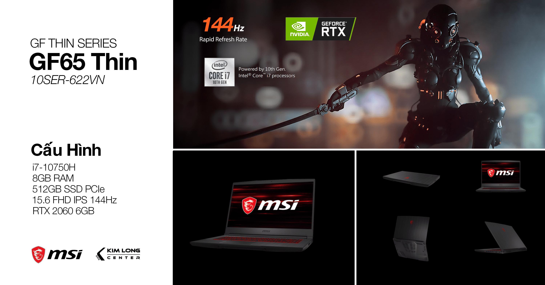 laptop gaming msi GF65 Thin 10SER-622VN