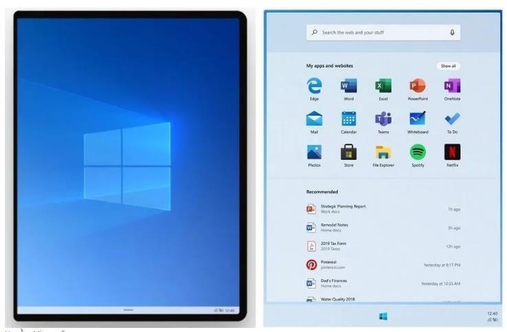 Giao diện khởi chạy của Windows 10X
