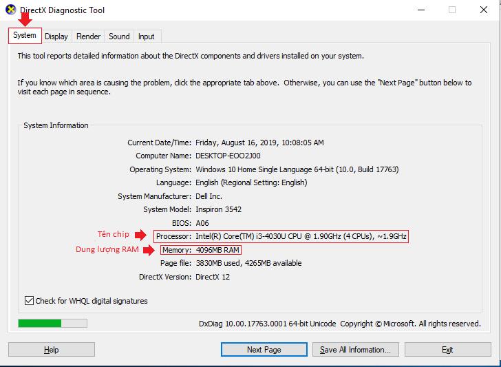 kiểm tra cấu hình laptop trên directX