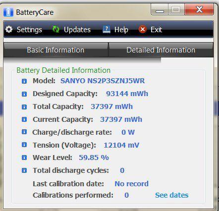 giao diện phầm mềm BatteryCare1