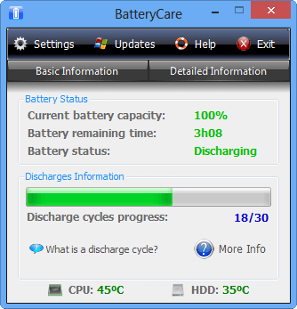 giao diện battery care